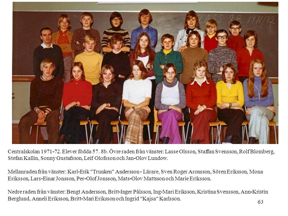 63 Centralskolan 1971-72. Elever födda 57. 8b. Övre raden från vänster: Lasse Olsson, Staffan Svensson, Rolf Blomberg, Stefan Kallin, Sonny Gustafsson