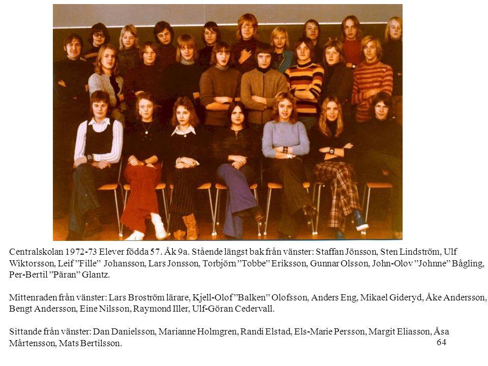 """64 Centralskolan 1972-73 Elever födda 57. Åk 9a. Stående längst bak från vänster: Staffan Jönsson, Sten Lindström, Ulf Wiktorsson, Leif """"Fille"""" Johans"""