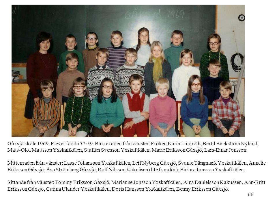 66 Gåxsjö skola 1969. Elever födda 57-59. Bakre raden från vänster: Fröken Karin Lindroth, Bertil Backström Nyland, Mats-Olof Mattsson Yxskaftkälen, S