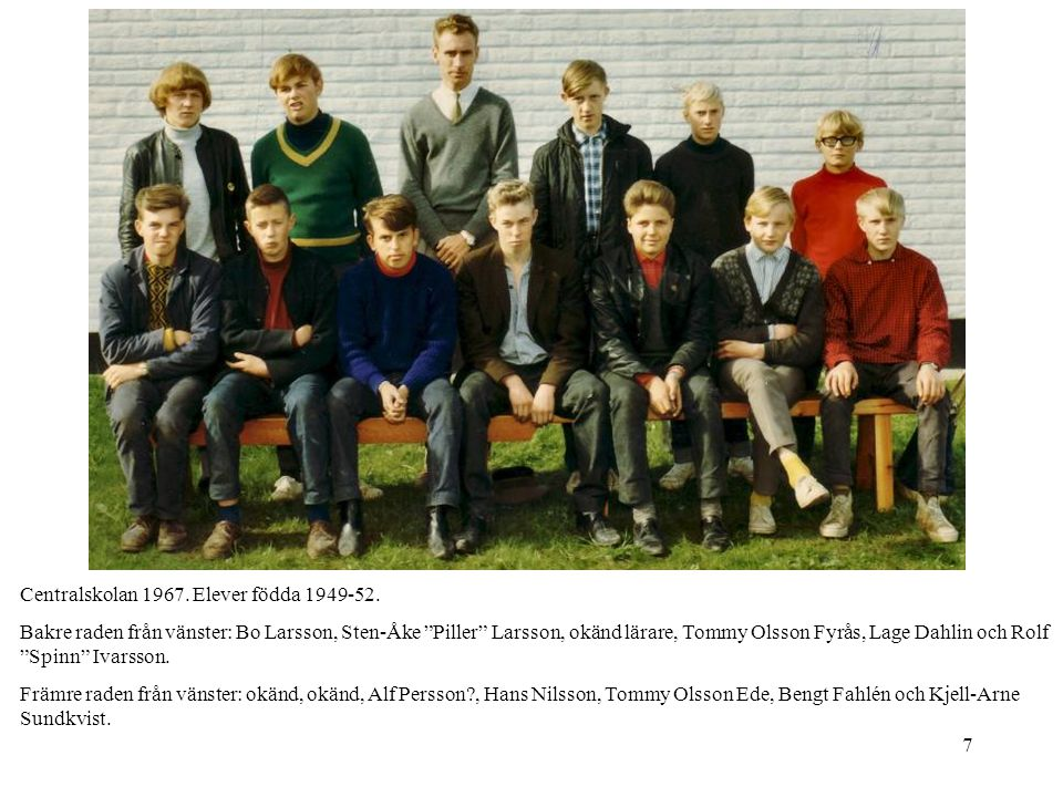 58 Centralskolan 1971-72.Elever födda 56. Åk 9g.