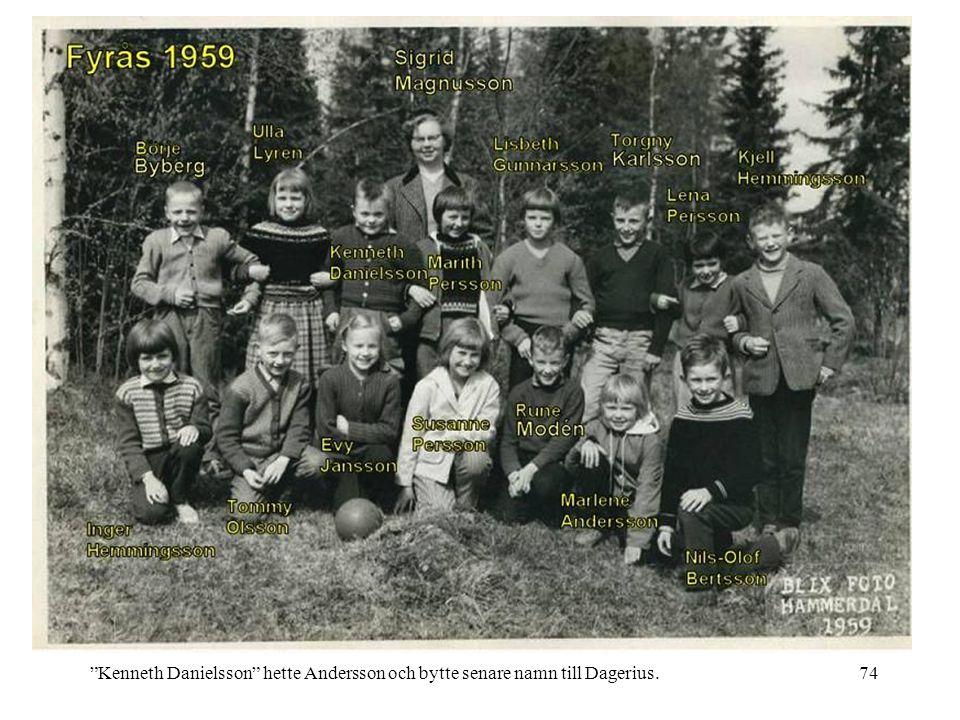 "74""Kenneth Danielsson"" hette Andersson och bytte senare namn till Dagerius."