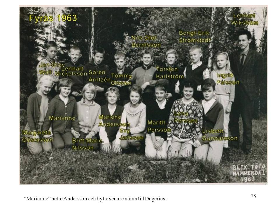"75 ""Marianne"" hette Andersson och bytte senare namn till Dagerius."