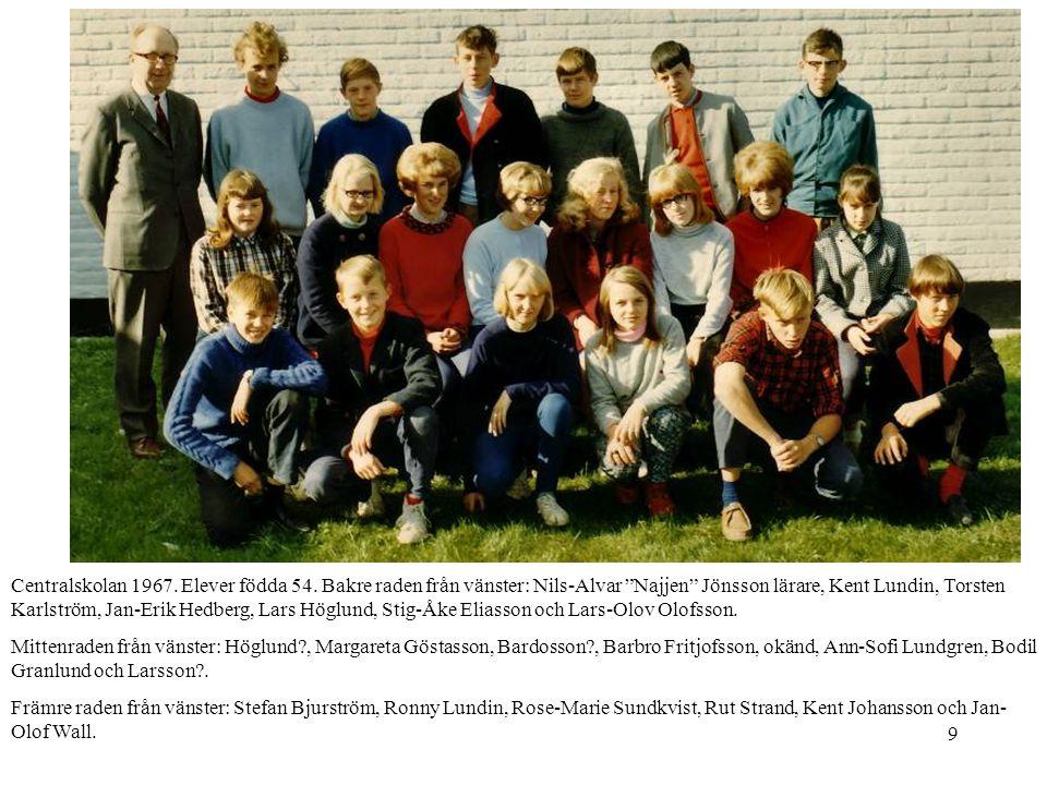 """9 Centralskolan 1967. Elever födda 54. Bakre raden från vänster: Nils-Alvar """"Najjen"""" Jönsson lärare, Kent Lundin, Torsten Karlström, Jan-Erik Hedberg,"""