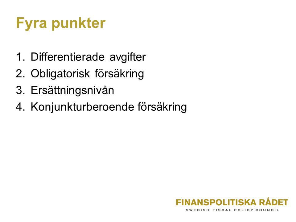 Fyra punkter 1.Differentierade avgifter 2.Obligatorisk försäkring 3.Ersättningsnivån 4.Konjunkturberoende försäkring
