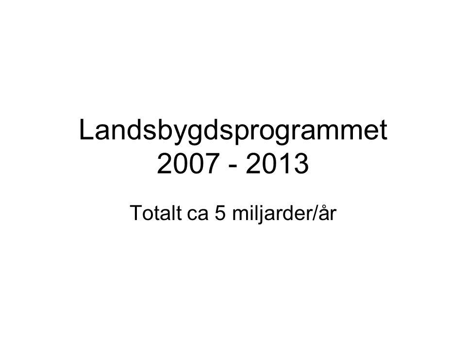 Landsbygdsprogrammet 2007 - 2013 Totalt ca 5 miljarder/år