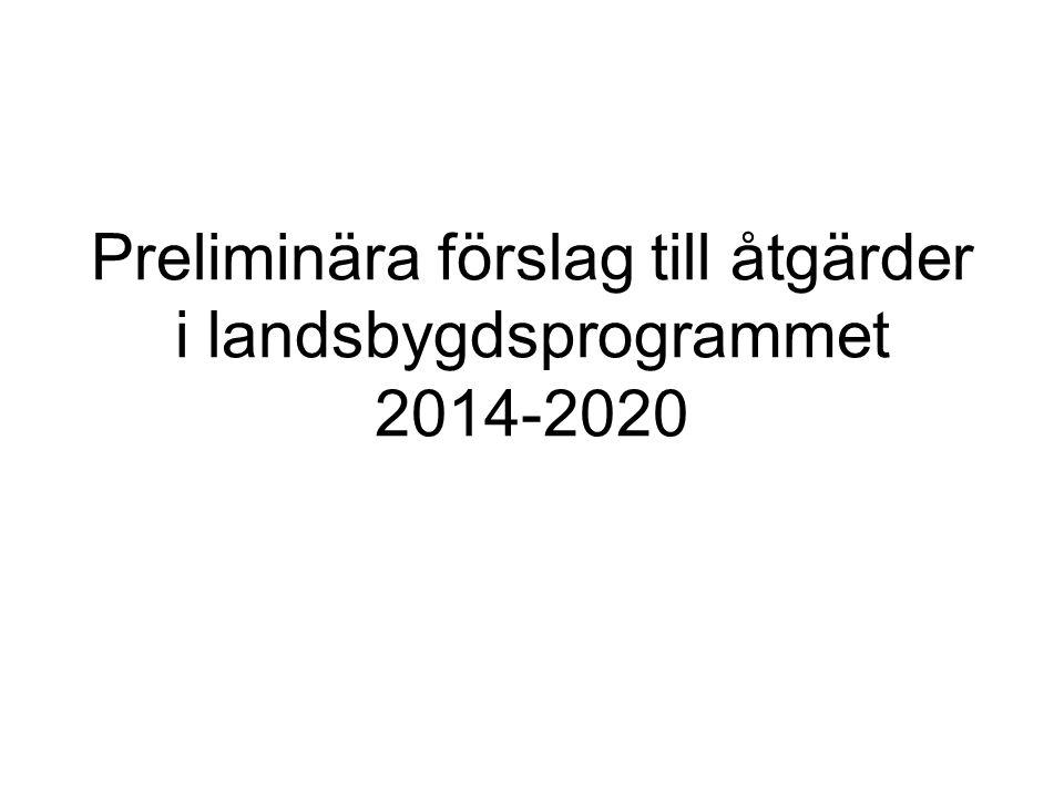 Preliminära förslag till åtgärder i landsbygdsprogrammet 2014-2020