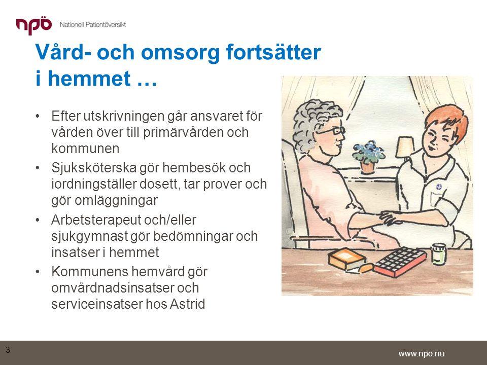 www.npö.nu •I listan med vård- och omsorgsdokument finns öppenvårdsanteckningar från vårdcentralen och en epikris från ortopedkliniken •Genom att klicka på detaljsymbolen längst till vänster på raden för epikrisen kan den läsas i sin helhet 14