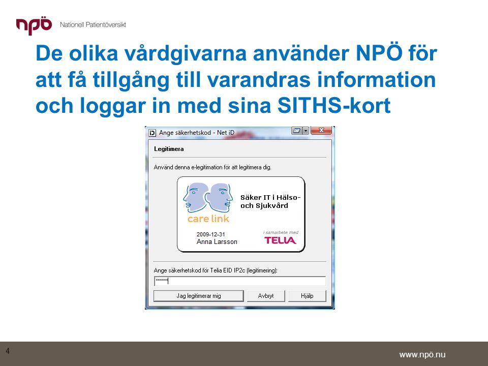 www.npö.nu •En sida för att välja vård- och omsorgstagare öppnas •Ange Astrids personnummer och kryssa i rutan Jag är delaktig i vården av denna person och behöver information •Klicka på OK 5