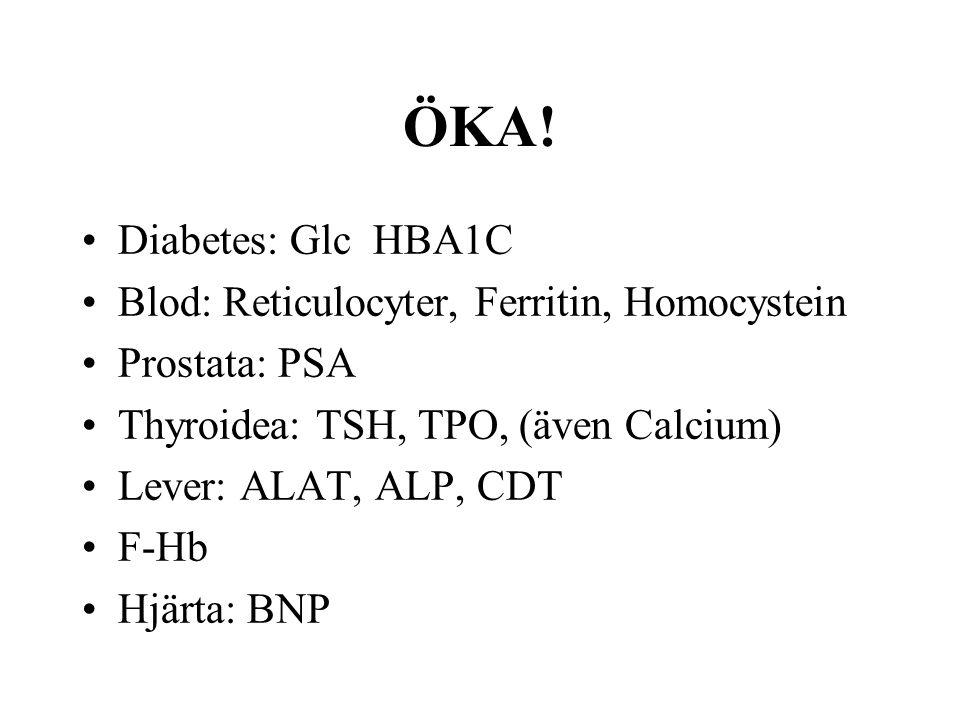 ÖKA! •Diabetes: Glc HBA1C •Blod: Reticulocyter, Ferritin, Homocystein •Prostata: PSA •Thyroidea: TSH, TPO, (även Calcium) •Lever: ALAT, ALP, CDT •F-Hb