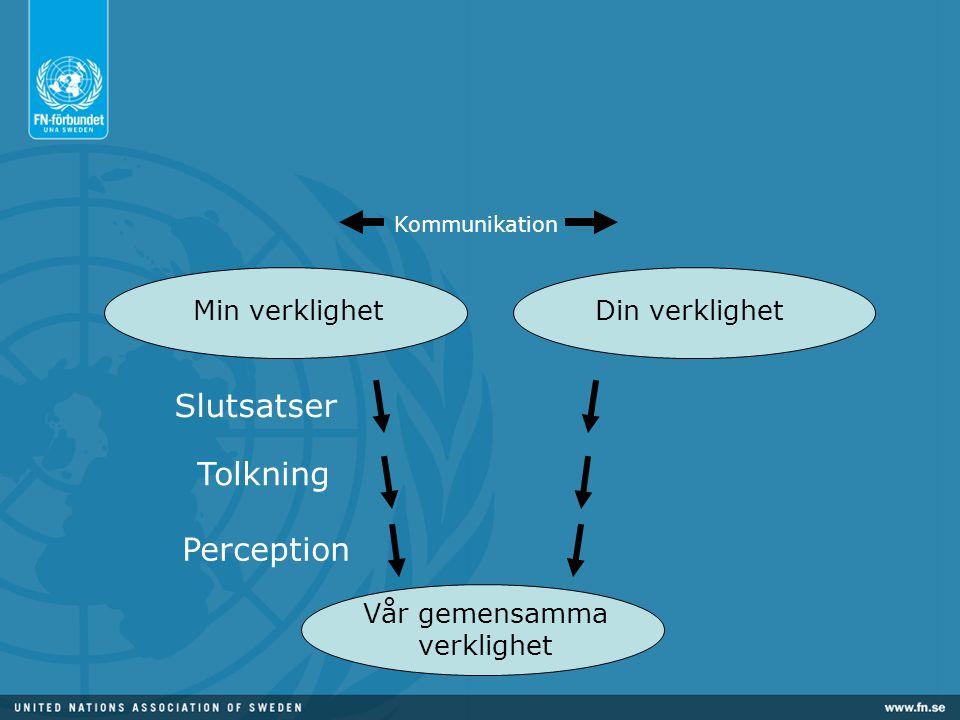 Vår gemensamma verklighet Perception Tolkning Slutsatser Min verklighetDin verklighet Kommunikation