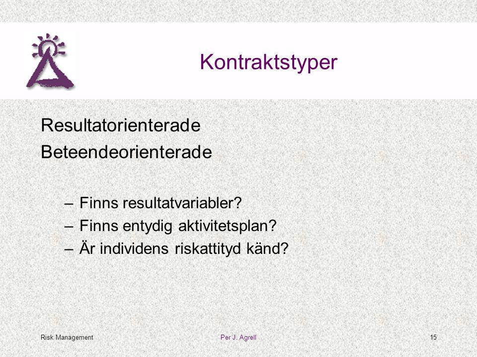 Risk ManagementPer J. Agrell15 Kontraktstyper Resultatorienterade Beteendeorienterade –Finns resultatvariabler? –Finns entydig aktivitetsplan? –Är ind