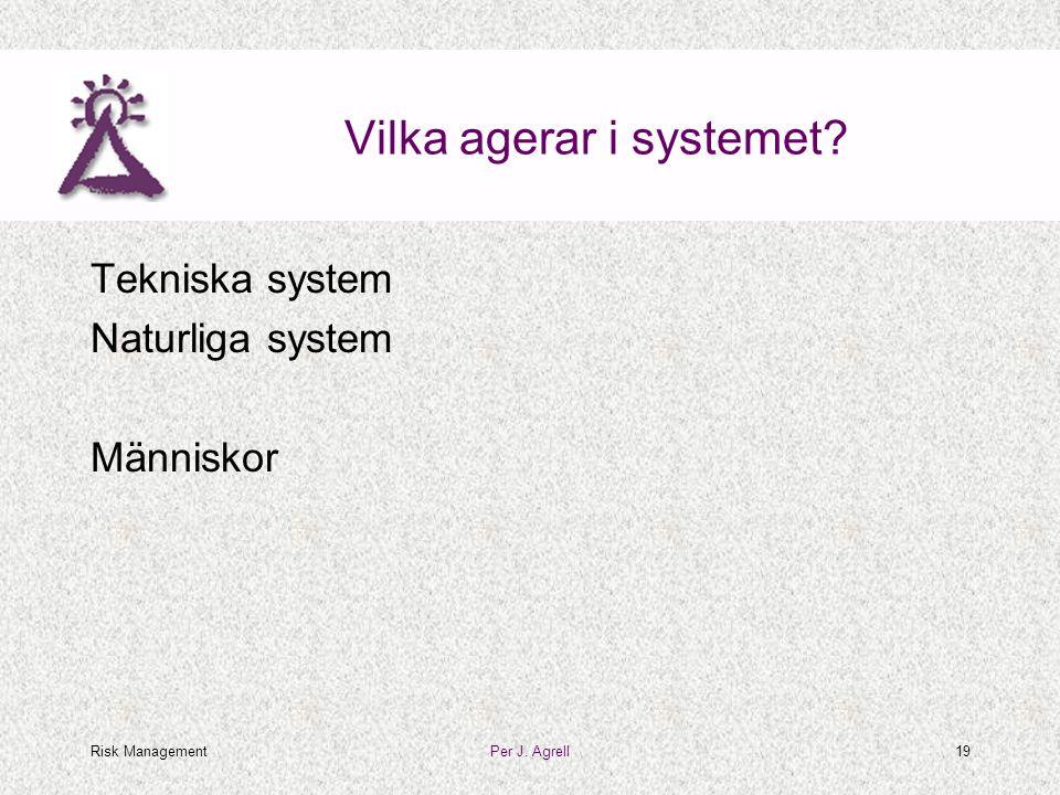 Risk ManagementPer J. Agrell19 Vilka agerar i systemet? Tekniska system Naturliga system Människor