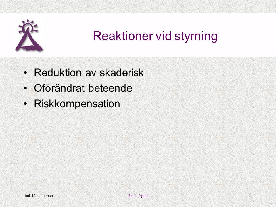 Risk ManagementPer J. Agrell21 Reaktioner vid styrning •Reduktion av skaderisk •Oförändrat beteende •Riskkompensation