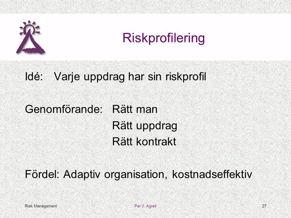 Risk ManagementPer J. Agrell27 Riskprofilering Idé:Varje uppdrag har sin riskprofil Genomförande:Rätt man Rätt uppdrag Rätt kontrakt Fördel: Adaptiv o