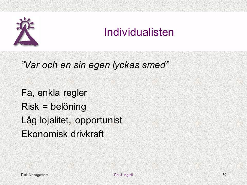 """Risk ManagementPer J. Agrell30 Individualisten """"Var och en sin egen lyckas smed"""" Få, enkla regler Risk = belöning Låg lojalitet, opportunist Ekonomisk"""