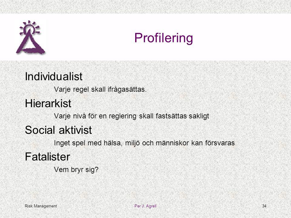 Risk ManagementPer J. Agrell34 Profilering Individualist Varje regel skall ifrågasättas. Hierarkist Varje nivå för en reglering skall fastsättas sakli