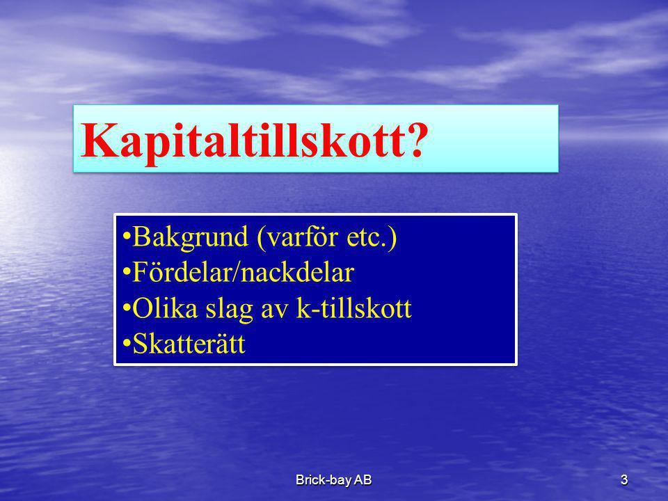 Brick-bay AB3 Kapitaltillskott? •Bakgrund (varför etc.) •Fördelar/nackdelar •Olika slag av k-tillskott •Skatterätt •Bakgrund (varför etc.) •Fördelar/n