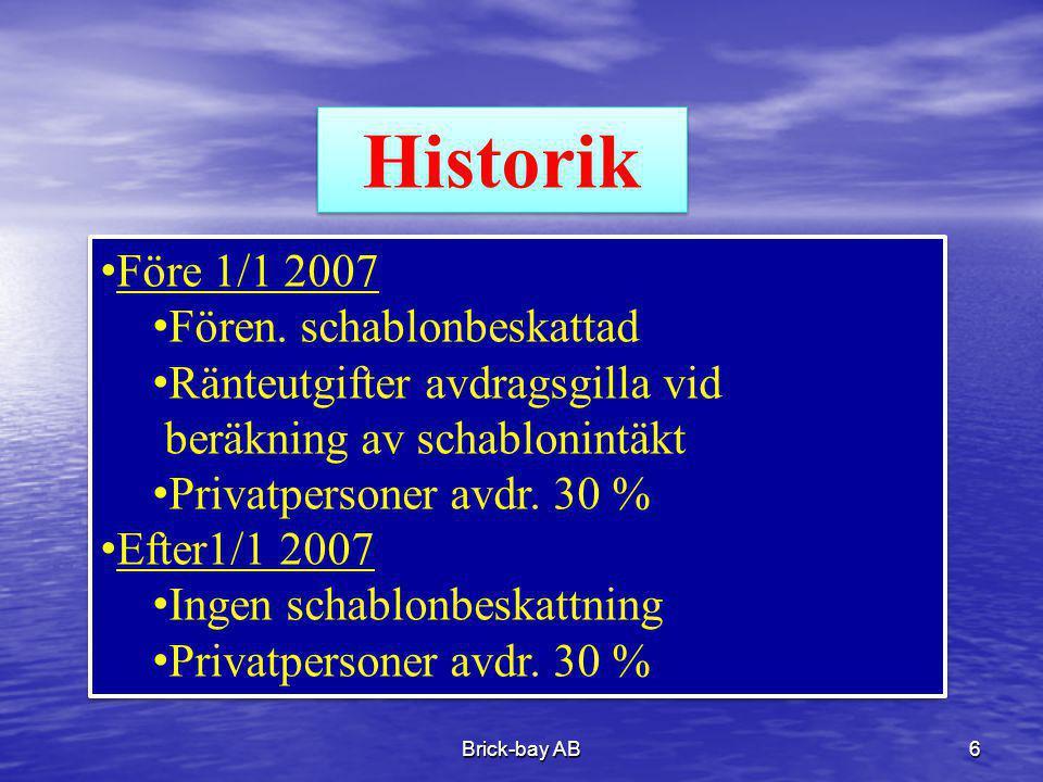 Brick-bay AB6 Historik •Före 1/1 2007 •Fören. schablonbeskattad •Ränteutgifter avdragsgilla vid beräkning av schablonintäkt •Privatpersoner avdr. 30 %