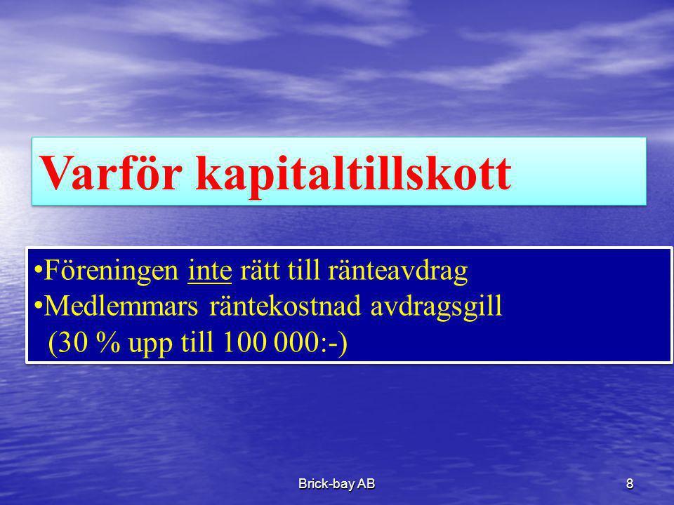 Brick-bay AB8 Varför kapitaltillskott •Föreningen inte rätt till ränteavdrag •Medlemmars räntekostnad avdragsgill (30 % upp till 100 000:-) •Föreninge