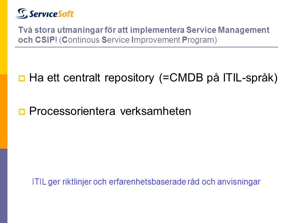 Två stora utmaningar för att implementera Service Management och CSIP! (Continous Service Improvement Program)  Ha ett centralt repository (=CMDB på