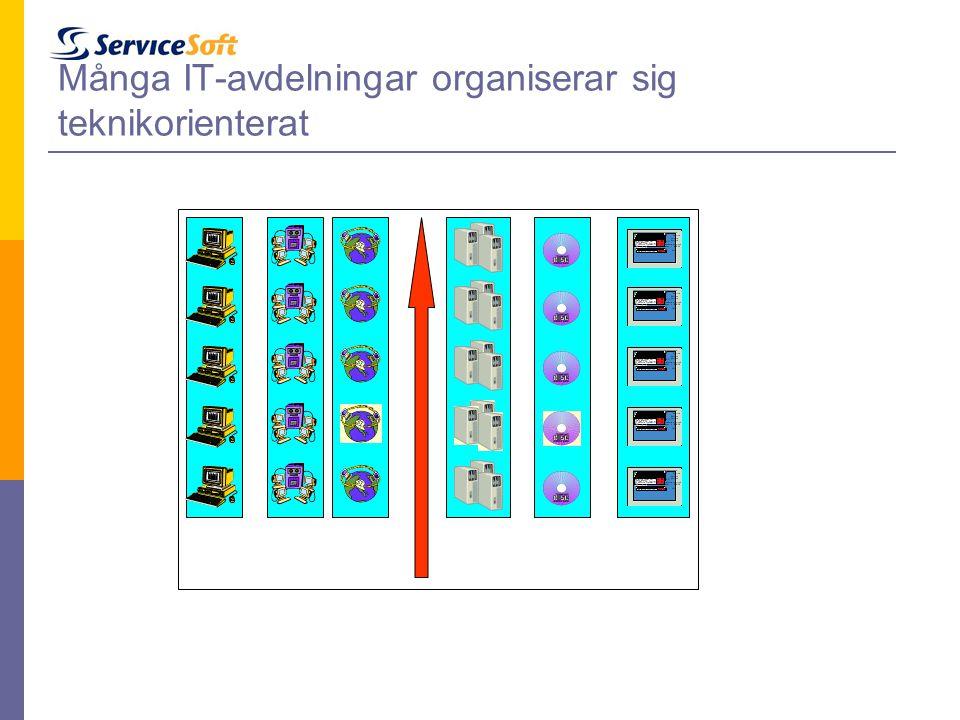 Många IT-avdelningar organiserar sig teknikorienterat UsersLANsWANsServers Data bases Appli- cations