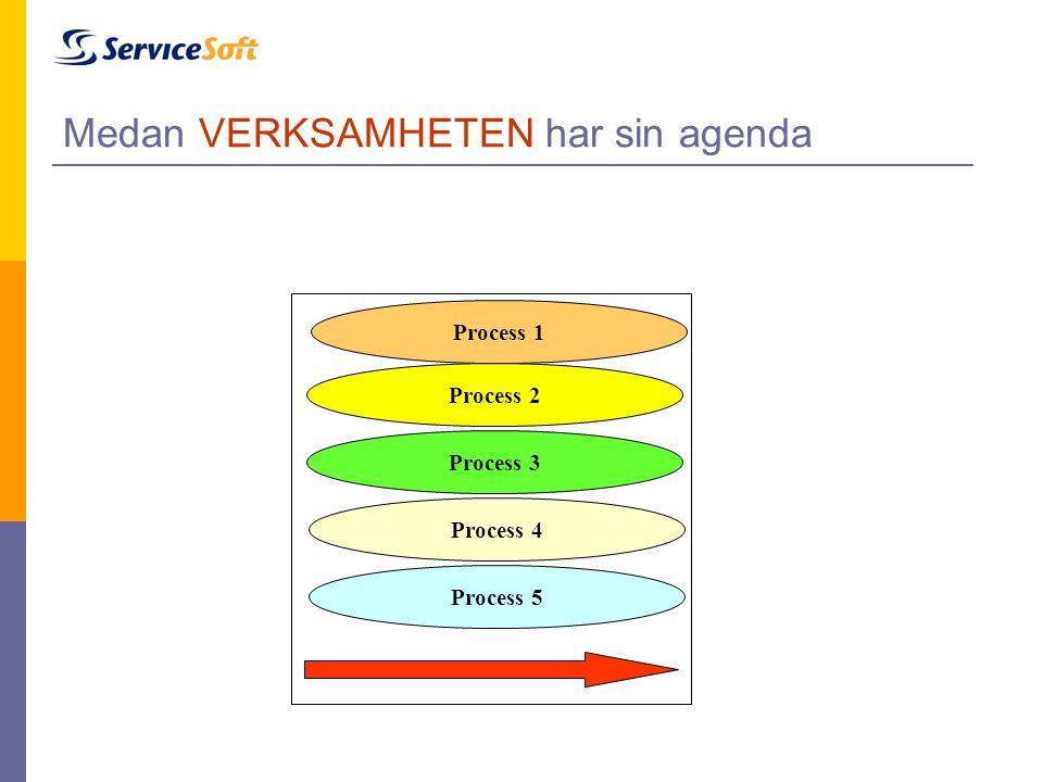 Medan VERKSAMHETEN har sin agenda Process 1 Process 2 Process 3 Process 4 Process 5