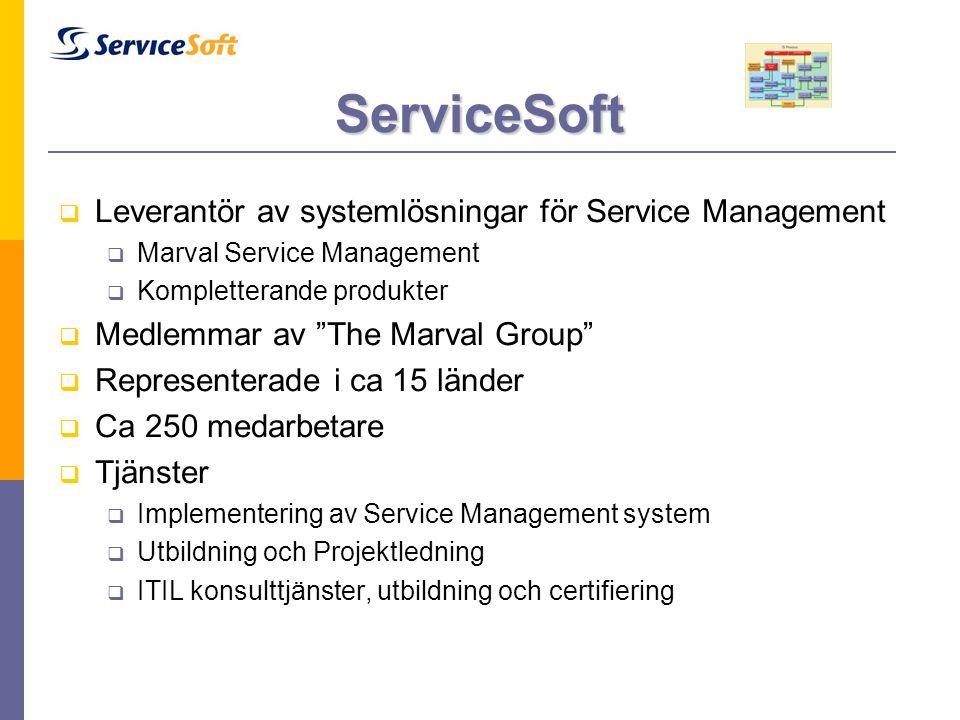 """ServiceSoft  Leverantör av systemlösningar för Service Management  Marval Service Management  Kompletterande produkter  Medlemmar av """"The Marval G"""