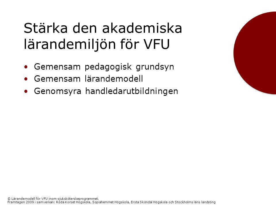 Stärka den akademiska lärandemiljön för VFU •Gemensam pedagogisk grundsyn •Gemensam lärandemodell •Genomsyra handledarutbildningen © Lärandemodell för