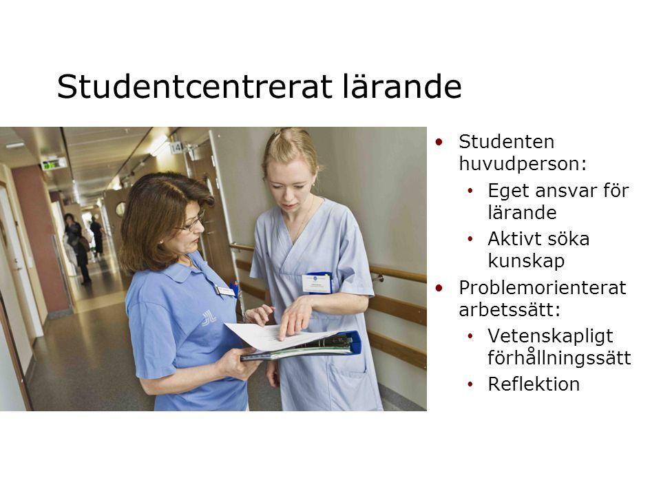 Studentcentrerat lärande •Studenten huvudperson: • Eget ansvar för lärande • Aktivt söka kunskap •Problemorienterat arbetssätt: • Vetenskapligt förhål
