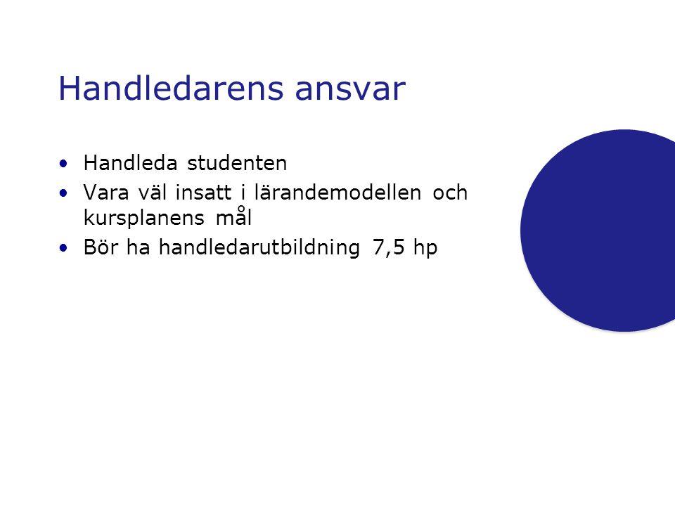 Handledarens ansvar •Handleda studenten •Vara väl insatt i lärandemodellen och kursplanens mål •Bör ha handledarutbildning 7,5 hp