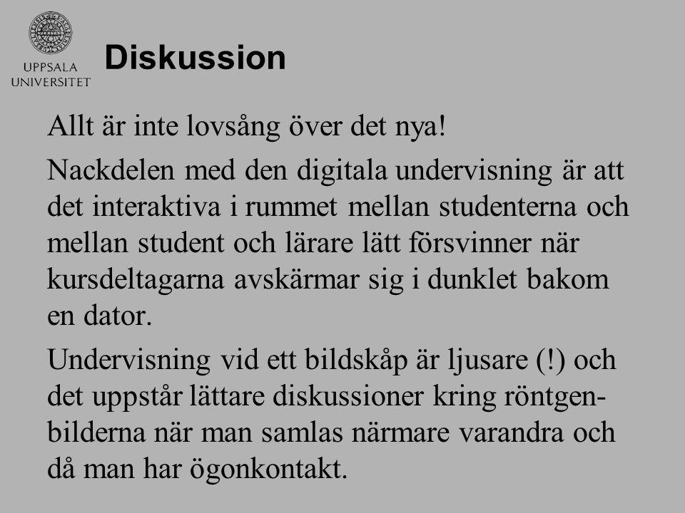 Diskussion Allt är inte lovsång över det nya! Nackdelen med den digitala undervisning är att det interaktiva i rummet mellan studenterna och mellan st