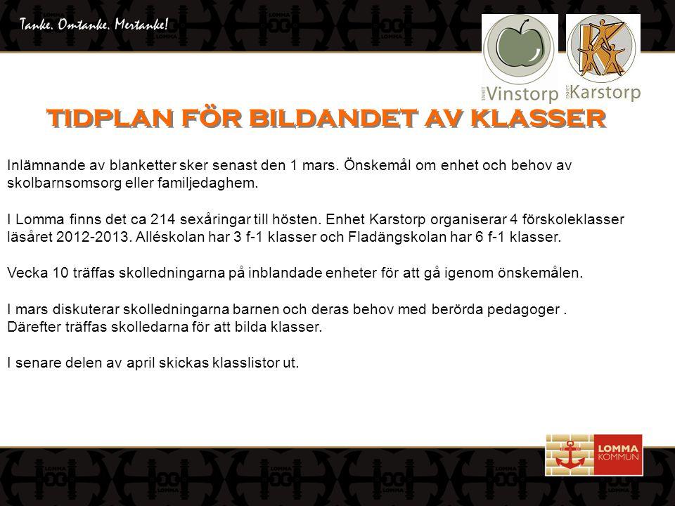 då klasserna bildats på enhet Karstorp Öppet hus och inlämnade av blankett 1 mars.