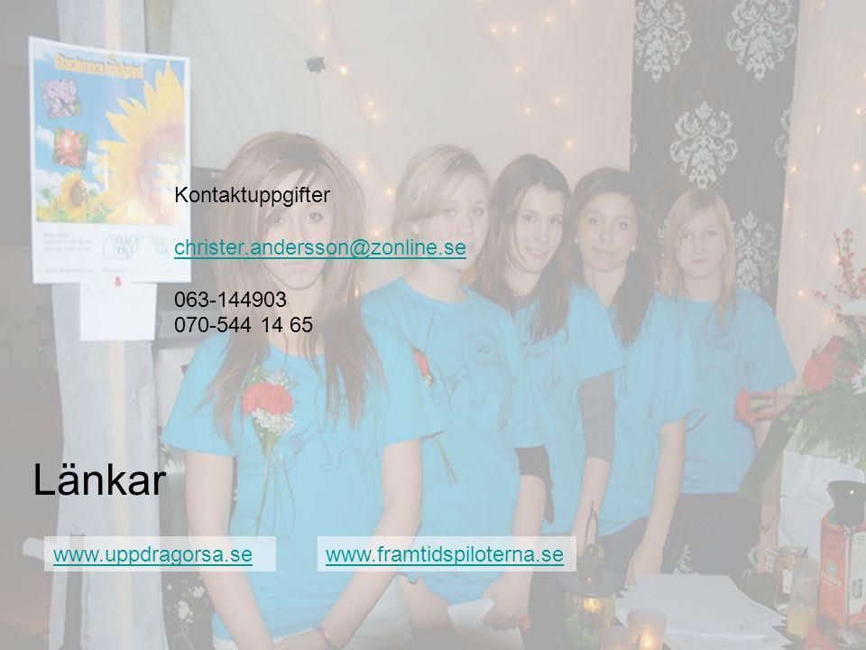 www.uppdragorsa.se Länkar www.framtidspiloterna.se Kontaktuppgifter christer.andersson@zonline.se 063-144903 070-544 14 65