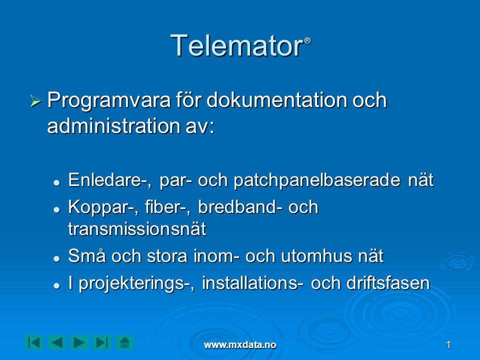 www.mxdata.no1 Telemator ®  Programvara för dokumentation och administration av:  Enledare-, par- och patchpanelbaserade nät  Koppar-, fiber-, bred