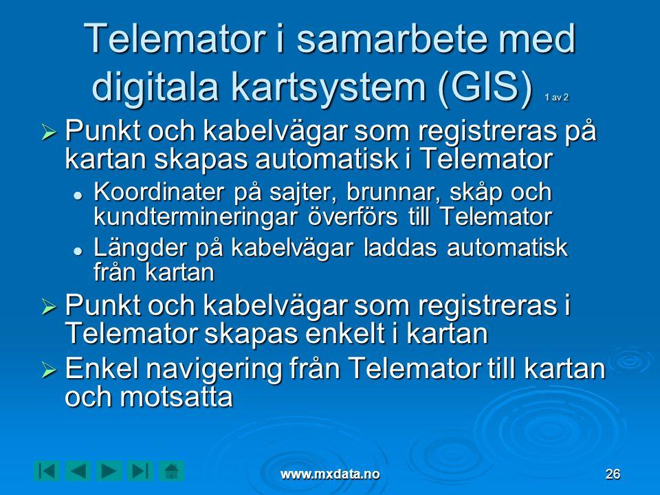 www.mxdata.no26 Telemator i samarbete med digitala kartsystem (GIS) 1 av 2  Punkt och kabelvägar som registreras på kartan skapas automatisk i Telema
