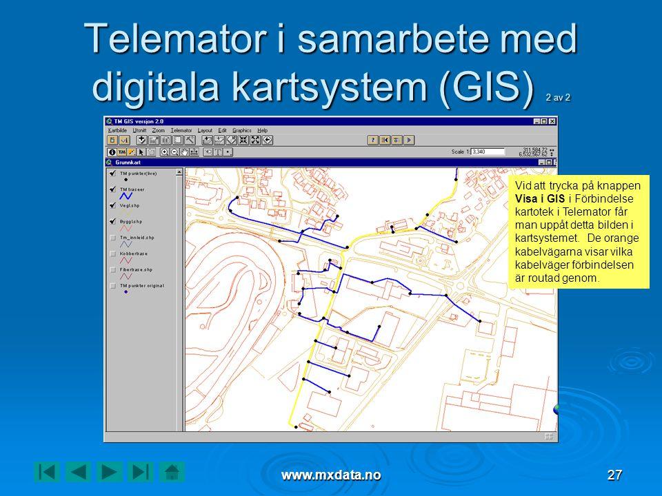 www.mxdata.no27 Telemator i samarbete med digitala kartsystem (GIS) 2 av 2 Vid att trycka på knappen Visa i GIS i Förbindelse kartotek i Telemator får
