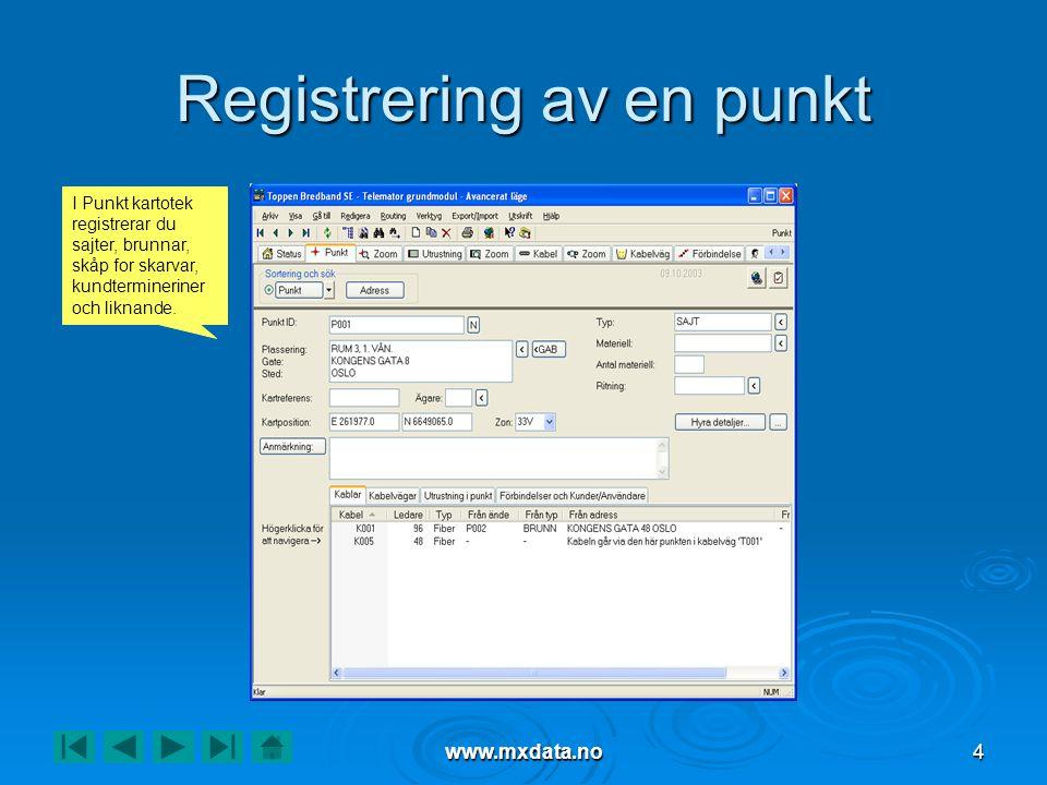 www.mxdata.no4 Registrering av en punkt I Punkt kartotek registrerar du sajter, brunnar, skåp for skarvar, kundtermineriner och liknande.