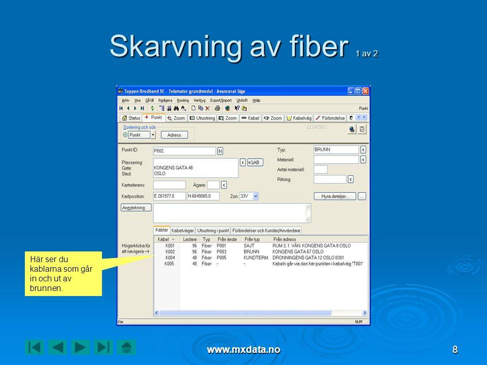 www.mxdata.no8 Skarvning av fiber 1 av 2 Här ser du kablarna som går in och ut av brunnen.