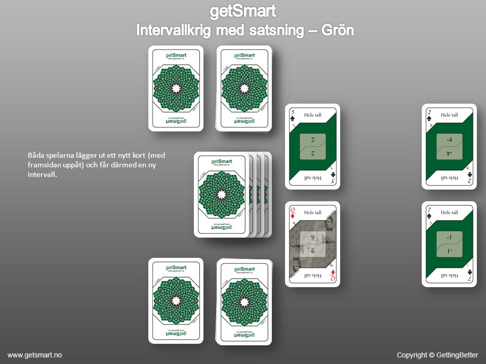 Båda spelarna lägger ut ett nytt kort (med framsidan uppåt) och får därmed en ny intervall.