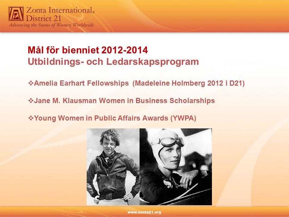 Mål för bienniet 2012-2014 Utbildnings- och Ledarskapsprogram  Amelia Earhart Fellowships (Madeleine Holmberg 2012 i D21)  Jane M. Klausman Women in