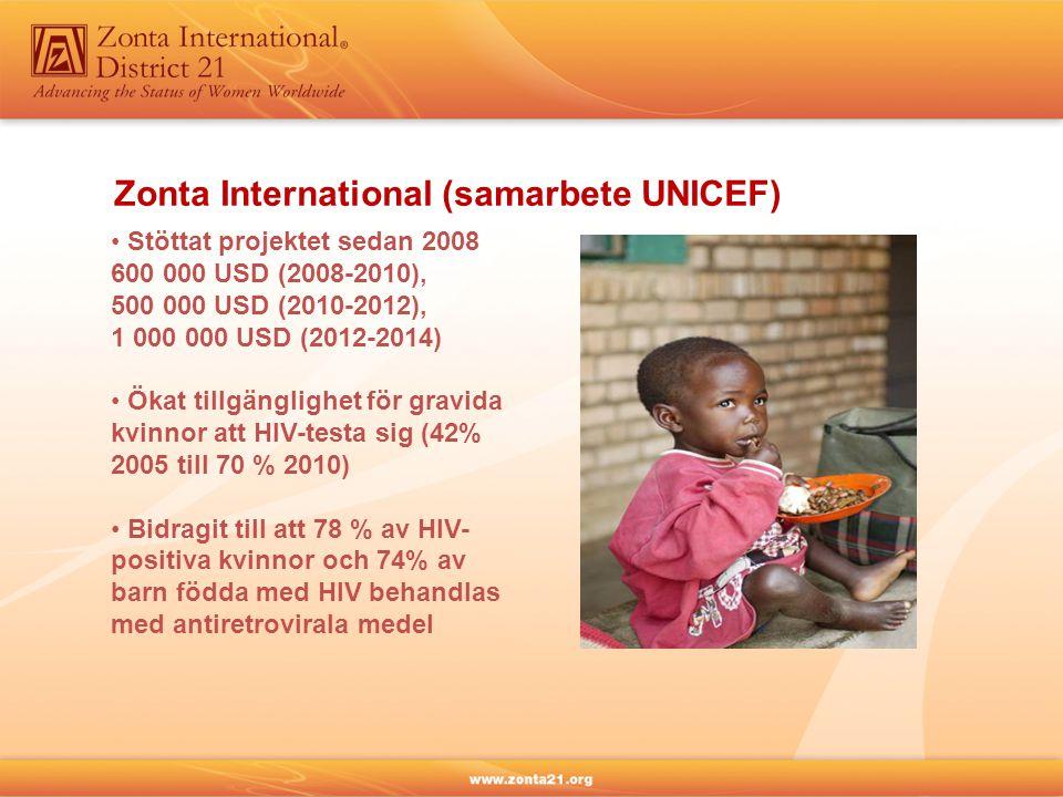 Zonta International (samarbete UNICEF) • Stöttat projektet sedan 2008 600 000 USD (2008-2010), 500 000 USD (2010-2012), 1 000 000 USD (2012-2014) • Ökat tillgänglighet för gravida kvinnor att HIV-testa sig (42% 2005 till 70 % 2010) • Bidragit till att 78 % av HIV- positiva kvinnor och 74% av barn födda med HIV behandlas med antiretrovirala medel