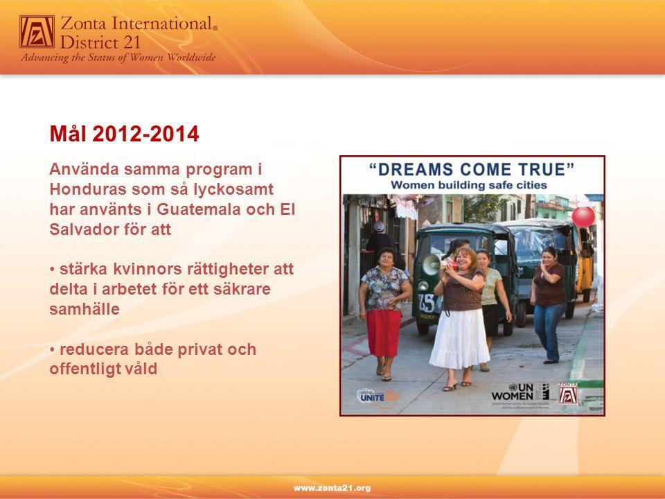 Använda samma program i Honduras som så lyckosamt har använts i Guatemala och El Salvador för att • stärka kvinnors rättigheter att delta i arbetet för ett säkrare samhälle • reducera både privat och offentligt våld Mål 2012-2014
