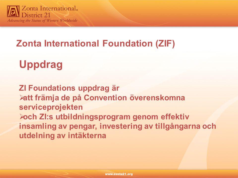 Zonta International Foundation (ZIF) Uppdrag ZI Foundations uppdrag är  att främja de på Convention överenskomna serviceprojekten  och ZI:s utbildni