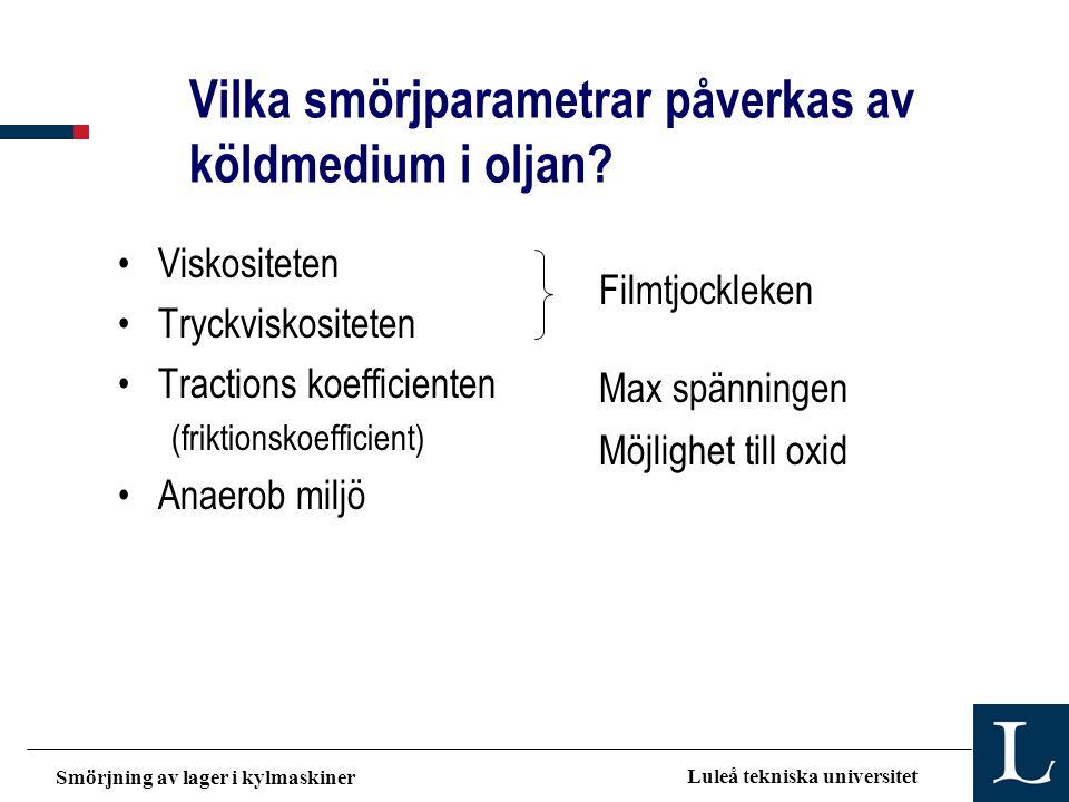 Smörjning av lager i kylmaskiner Luleå tekniska universitet Vilka smörjparametrar påverkas av köldmedium i oljan? •Viskositeten •Tryckviskositeten •Tr