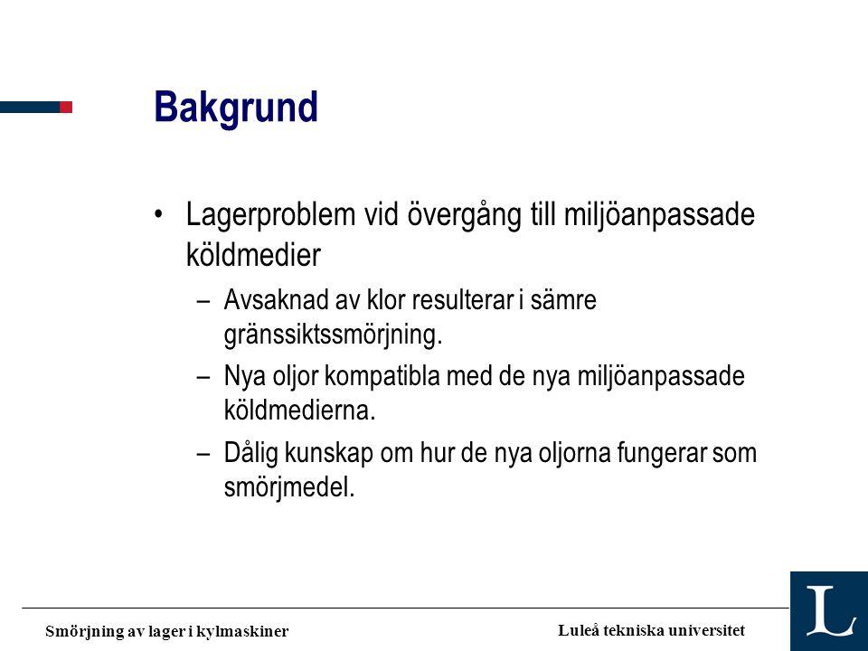 Smörjning av lager i kylmaskiner Luleå tekniska universitet Bakgrund •Lagerproblem vid övergång till miljöanpassade köldmedier –Avsaknad av klor resul