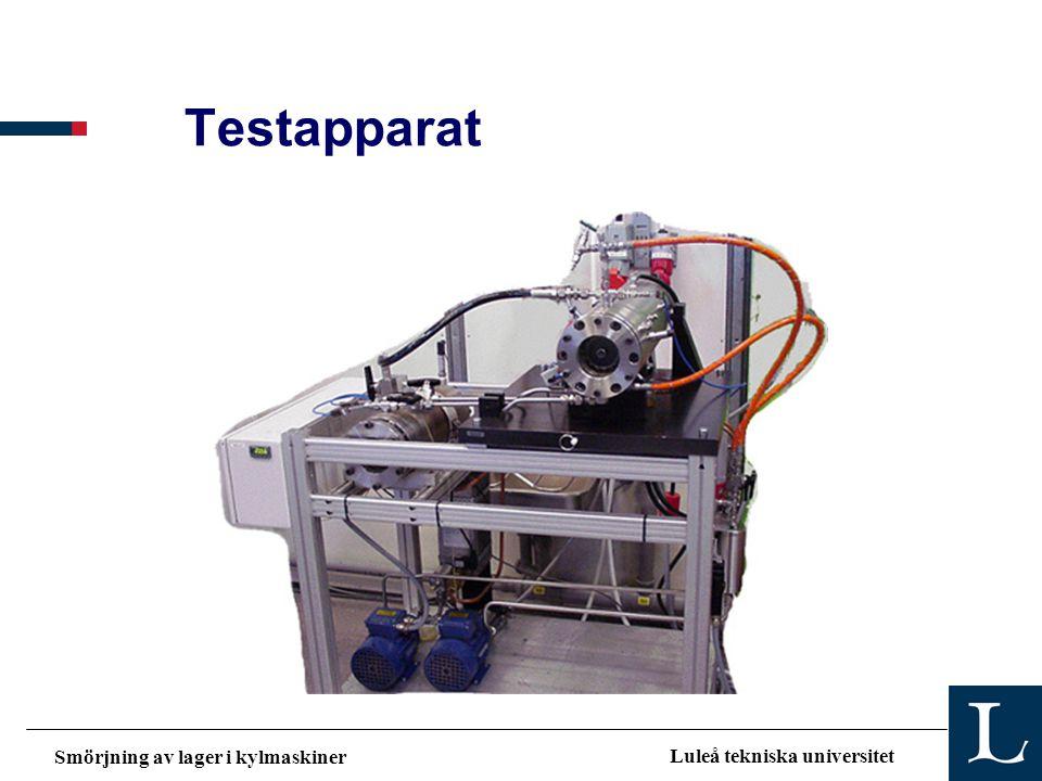 Smörjning av lager i kylmaskiner Luleå tekniska universitet Testapparat