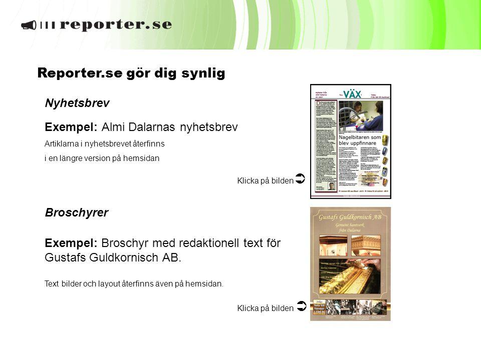 Nyhetsbrev Exempel: Almi Dalarnas nyhetsbrev Artiklarna i nyhetsbrevet återfinns i en längre version på hemsidan Klicka på bilden  Broschyrer Exempel