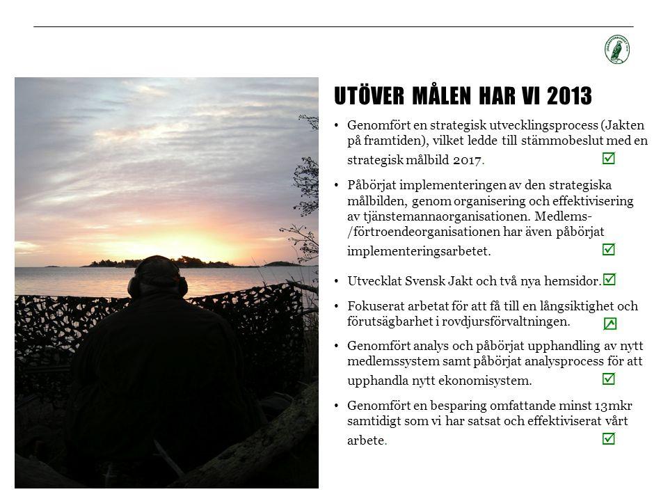 UTÖVER MÅLEN HAR VI 2013 • Genomfört en strategisk utvecklingsprocess (Jakten på framtiden), vilket ledde till stämmobeslut med en strategisk målbild