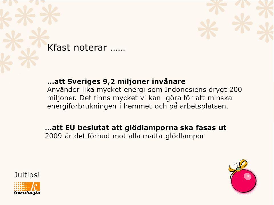 Jultips! Kfast noterar …… …att Sveriges 9,2 miljoner invånare Använder lika mycket energi som Indonesiens drygt 200 miljoner. Det finns mycket vi kan