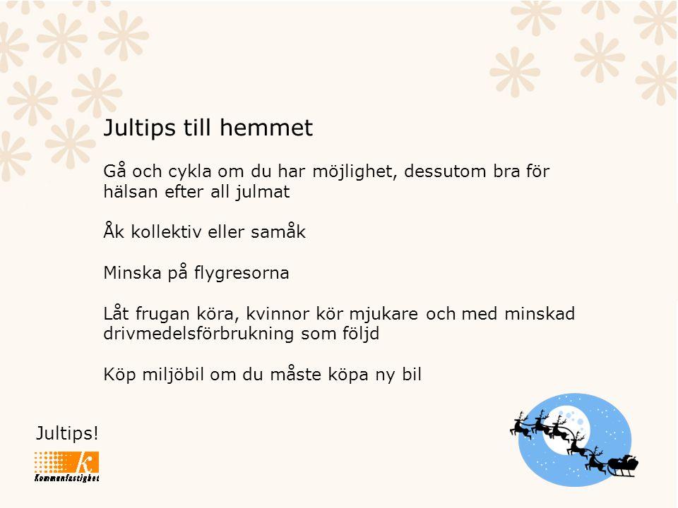 Jultips! Jultips till hemmet Gå och cykla om du har möjlighet, dessutom bra för hälsan efter all julmat Åk kollektiv eller samåk Minska på flygresorna